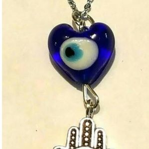 Jewelry - BLUE GLASS EVIL EYE HEART & HAMSA PENDANT NECKLACE